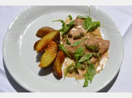 "Veal ""Scaloppini"" with Marsala Cream Sauce with Arugula, Roasted Potatoes (contains alcohol)"