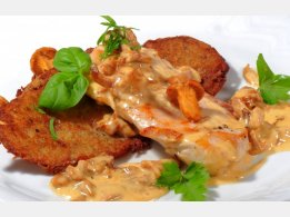 Chicken Steak with Egg Mushroom and Cream Sauce, Our Home-Made Potato Pancakes