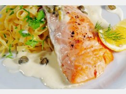 Grilled Salmon with Caper Sauce, Italian Pasta