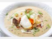 """Kulajda"" – Soup with Mushrooms and Medium-Boiled Egg"