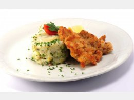 Vienna Schnitzel (Veal) with Mashed Potatoes with Bacon and Green Onion
