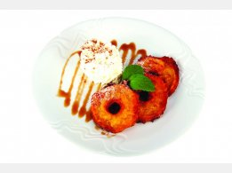 Fried Apple in Wine-Batter Coat  with Caramel and Whipped Cream