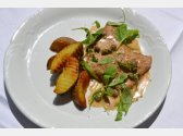 "Veal ""scaloppini"" with Marsala Cream Sauce with Arugula, Roasted Potatoes"