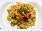 Tagliatelle with Garlic, Olive Oil, Peperoni and Shrimps