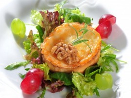 Delicate Goaty Cheese with Honey on Bed of Lettuce